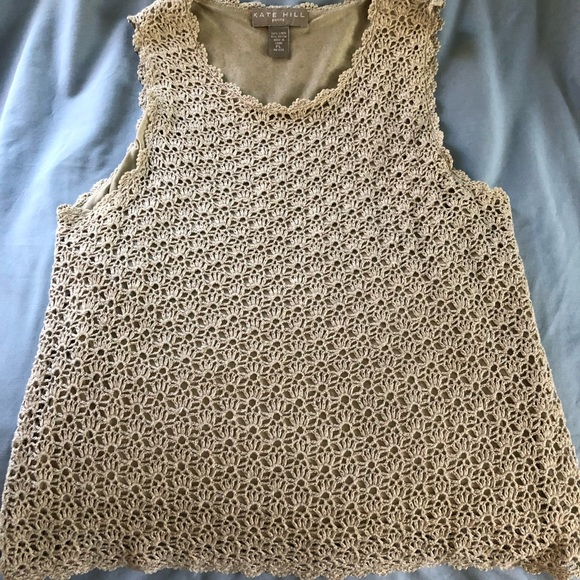 Kate Hill Tops - Kate Hill linen/Rayon crocheted sleeveless top